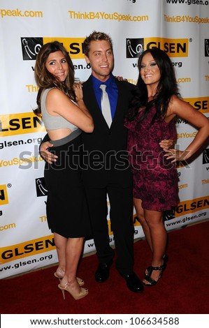 Jamie-Lynn Sigler with Lance Bass and Lacey-Mae  at the 4th Annual GLSEN Respect Awards. Beverly Hills Hotel, Beverly Hills, CA. 10-10-08 - stock photo
