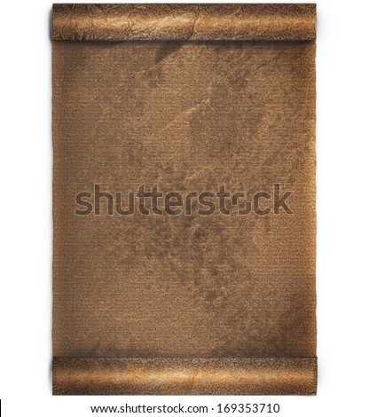 Jammed bronze old worn roll of parchment or paper  background with ragged edge that was became weary highlighted by sun or day light, clipping path included - stock photo