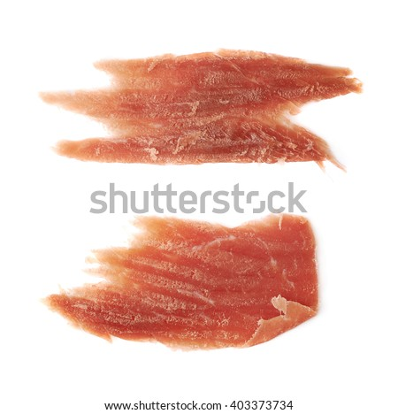 Jamon ham slice isolated over the white background, set of two different foreshortenings