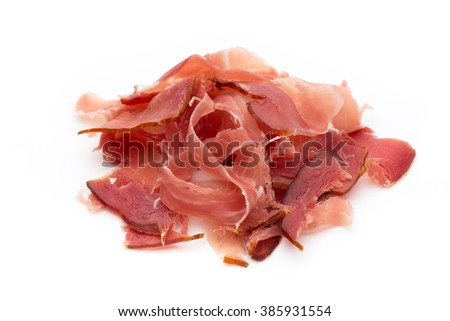 Jamon of ham on white background.