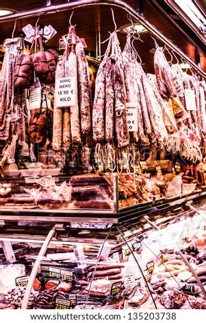 Jamon - traditional meat at spanish market