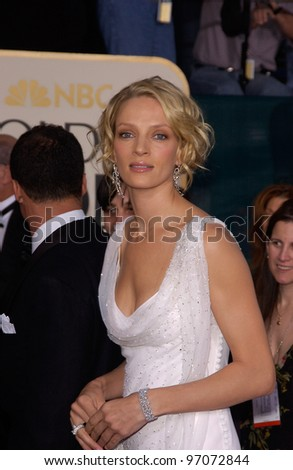 Jan 16, 2005; Beverly Hills, CA: UMA THURMAN at the 62nd Annual Golden Globe Awards at the Beverly Hilton Hotel. - stock photo
