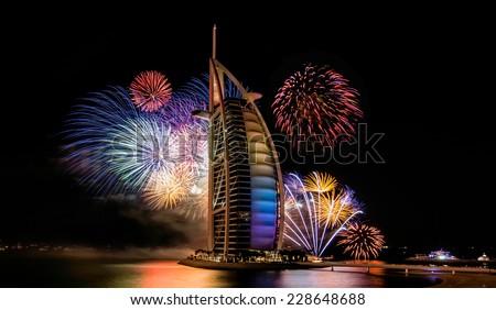 JAN 1, 2014 - DUBAI: The Burj Al Arab luxury hotel during their New Year's event.in dubai on jan 1, 2014 - stock photo