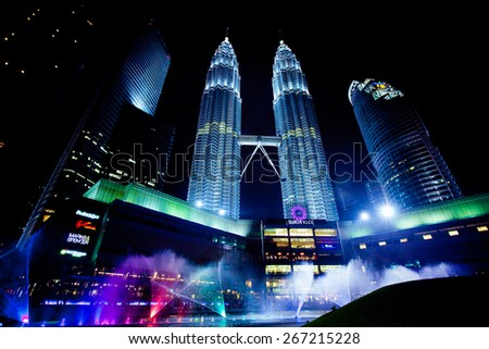 JAN 17, 2014, KUALA LUMPUR, MALAYSIA : Petronas Twin Towers at night on January 17, 2014 in Kuala Lumpur. Petronas Twin Towers were the tallest buildings (452 m) in the world from 1998 to 2004 - stock photo