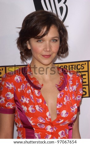 Jan 10, 2005; Los Angeles, CA:  Actress MAGGIE GYLLENHAAL at the 10th Annual Critcs' Choice Awards at the Wiltern Theatre, Los Angeles. - stock photo