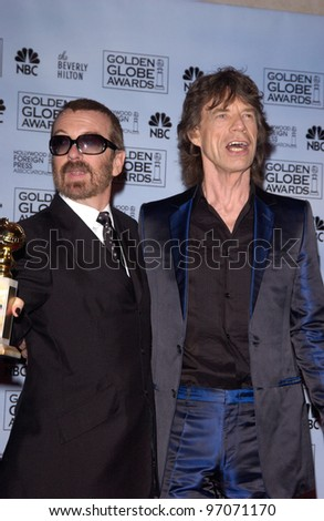 Jan 16, 2005; Los Angeles, CA: DAVE STEWART (left) & MICK JAGGER at the 62nd Annual Golden Globe Awards at the beverly Hilton Hotel.