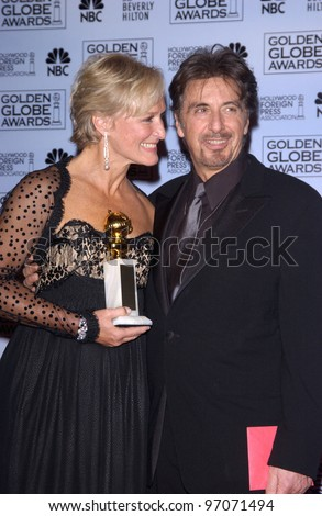 Jan 16, 2005; Los Angeles, CA: GLENN CLOSE and AL PACINO at the 62nd Annual Golden Globe Awards at the beverly Hilton Hotel. - stock photo
