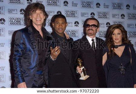 Jan 16, 2005; Los Angeles, CA: MICK JAGGER (left), USHER, DAVE STEWART & LISA MARIE PRESLEY at the 62nd Annual Golden Globe Awards at the beverly Hilton Hotel. - stock photo