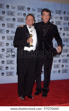Jan 16, 2005; Los Angeles, CA: ROBIN WILLIAMS (left) & PIERCE BROSNAN at the 62nd Annual Golden Globe Awards at the beverly Hilton Hotel. - stock photo