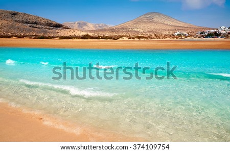 Jandia beach Risco el Paso Fuerteventura at Canary Islands of Spain - stock photo