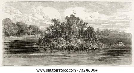Jandiatuba river confluence into Amazon, old view, Brazil. Created by Riou, published on Le Tour du Monde, Paris, 1867 - stock photo