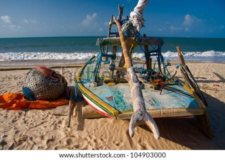 Jangada. Brazilian fishing boat. - stock photo