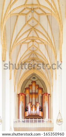 Jann organ and ceiling in Frauenkirche cathedral in Munich, Germany