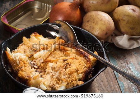 Jansson's frestelse (Janssons temptation) is a Swedish gratin style dish made from potatoes, onion and sprats. Often served on special occasions and especially at Christmas time.