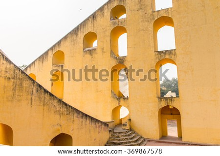 Jantar Mantar, Jaipur, Rajasthan, a collection of 19 architectural astronomical instruments completed in 1738. UNESCO World Heritage
