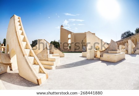 Jantar Mantar observatory complex at blue sky in Jaipur, Rajasthan, India - stock photo