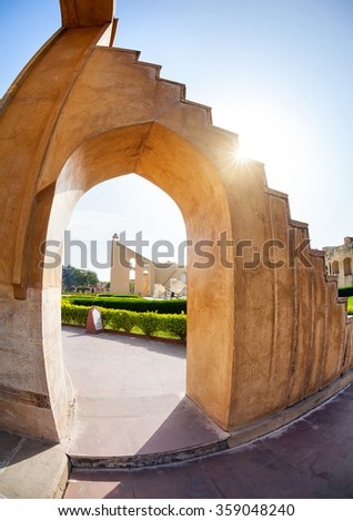 Jantar Mantar observatory complex at blue sky in Jaipur, Rajasthan, India