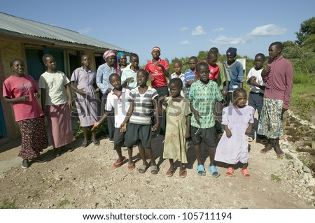 JANUARY 2007 - A group of HIV/AIDS infected children sing song about AIDS at the Pepo La Tumaini Jangwani, HIV/AIDS Community Rehabilitation Program, Orphanage & Clinic.  Nairobi, Kenya, Africa - stock photo