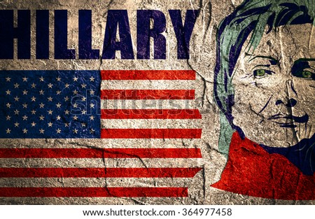 January 15, 2016: A illustration showing Democrat presidential candidate Hillary Clinton on national flag background done in hand draw style - stock photo