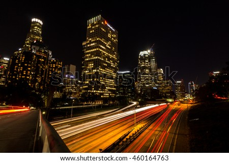 January 25, 2016 - A long exposure photograph of Los Angeles freeway and buildings, Los Angeles, California, USA