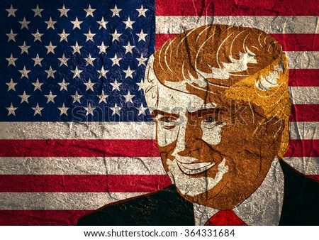 January 18, 2016: An illustration of a portrait of Republican Presidential Candidate Donald Trump on national flag background textured by concrete wall surface - stock photo