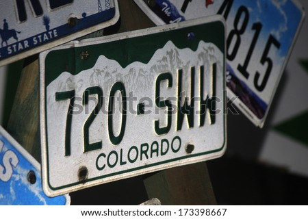 JANUARY 2014 - BERLIN: a (retired) US license plate: Colorado.