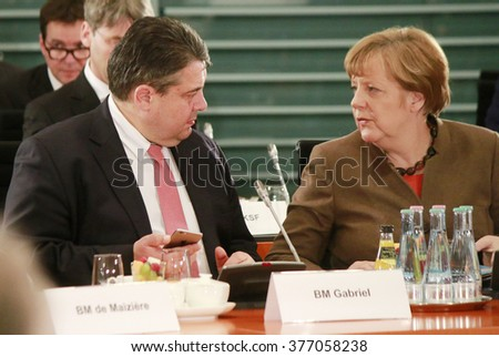 JANUARY 28, 2016 - BERLIN, GERMANY: Sigmar Gabriel, German Chancelor Angela Merkel at aconference in the Federal Chanclery. - stock photo