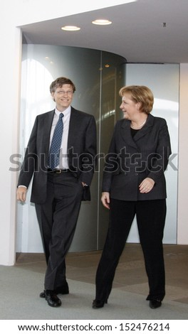 JANUARY 23, 2008 - BERLIN: Microsoft founder Bill Gates, Chancellor Angela Merkel at a meeting in the Chanclery in Berlin.