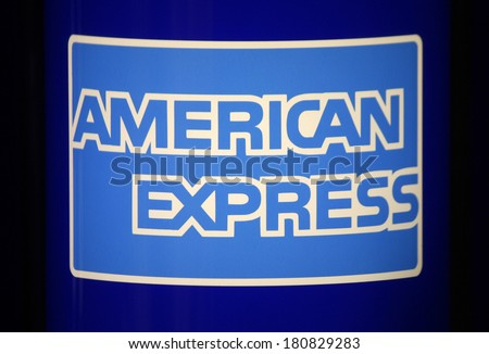 "JANUARY 28, 2014 - BERLIN: the logo of the brand ""American Express, Berlin."