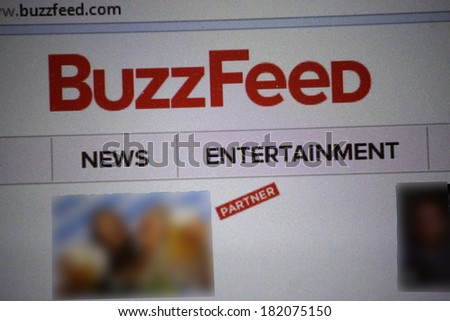 "JANUARY 27, 2014 - BERLIN: the logo of the brand ""Buzzfeed""."
