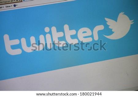 "JANUARY 27, 2014 - BERLIN: the logo of the brand ""Twitter"". - stock photo"
