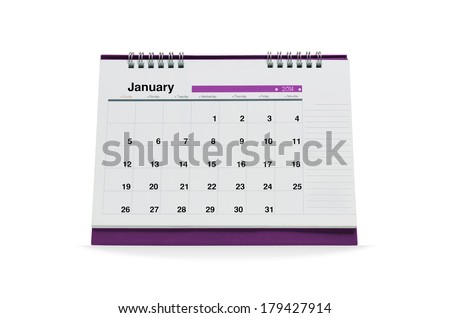 January calendar is empty Isolated on white background with clipping paths.