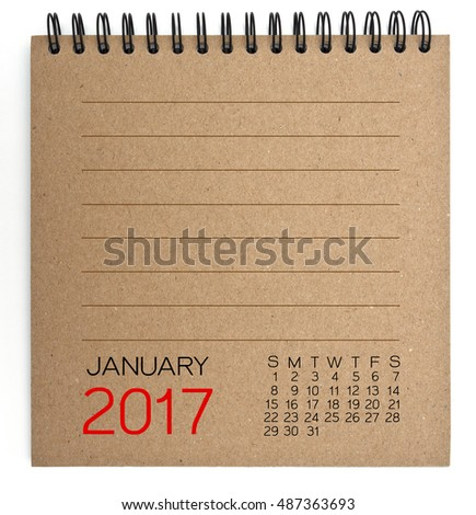 January 2017 Calendar on brown Texture Paper