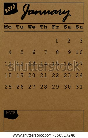 January 2016 calendar recycled paper background, weeks start from Monday - stock photo