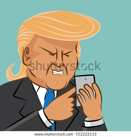 JANUARY 9, 2017: Illustrative editorial cartoon of Donald Trump using social media to comment.