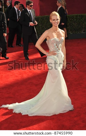 January Jones at the 61st Primetime Emmy Awards at the Nokia Theatre L.A. Live. September 20, 2009  Los Angeles, CA Picture: Paul Smith / Featureflash