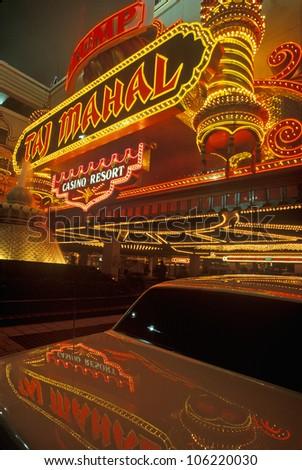JANUARY 2005 - Neon sign outside of Donald Trump's Taj Mahal Casino in Atlantic City, NJ - stock photo