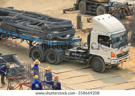 JANUARY 6, 2016 ; NONTHABURI - THAILAND : Concrete pile foundation under-construction with heavy equipment at Electricity generating authority of Thailand, Nonthaburi province.