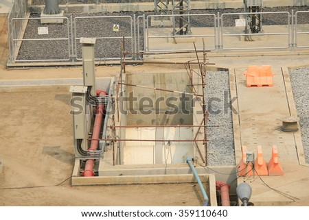 JANUARY 7, 2016 ; NONTHABURI - THAILAND : Construction of EGAT's North Bangkok gas combine cycle power plant 800 MW.