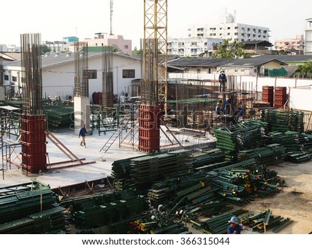 JANUARY 23, 2016 : NONTHABURI - THAILAND : Under-construction of concrete ground floor and column of car park at Electricity generating authority of Thailand. Nonthaburi province.