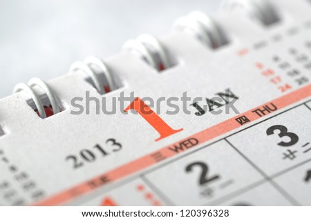 January of 2013 calendar - stock photo