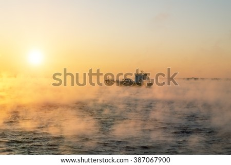 January 5, 2016.Of the Baltic sea. The ship sails at dawn in the fog of the cold winter sea.Estonia