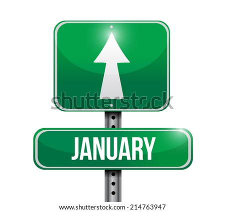 january sign illustration design over a white background