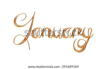 january word gold on isolated white stock illustration 395689369