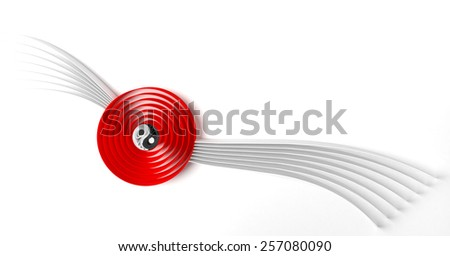 Japan abstract design element with red circle and Ying Yang symbol - stock photo