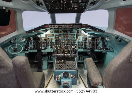 JAPAN AIRLINE OFFICE - HANEDA AIRPORT - TOKYO - JAPAN - MAR 2015: An Old Airplane Cockpit taken on 2 March 2015