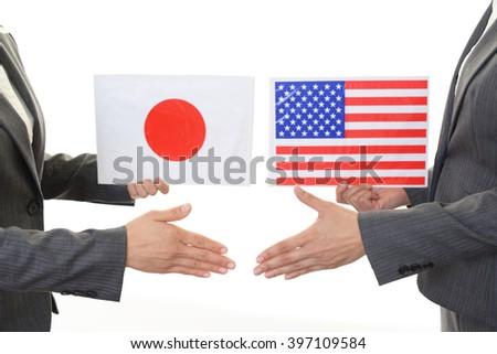 Japan & America Flags - stock photo