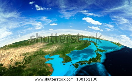 Japan and Korea landscape from space. Elements of this image furnished by NASA - stock photo