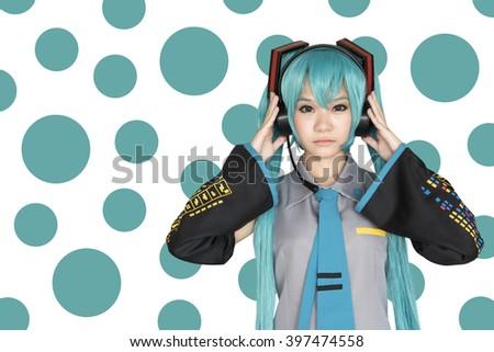 Japan anime cosplay , green cosplay set - stock photo