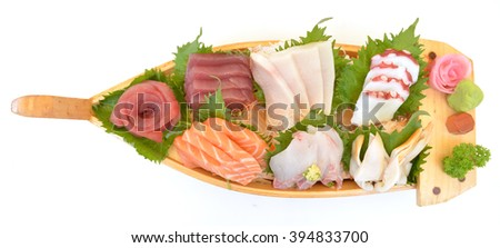 Japan assorted seafood sashimi on boat - stock photo
